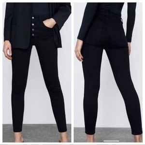 ZARA NWT BLACK HIGH RISE BUTTON FLY JEANS 6